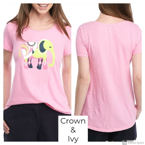 eb254030b7cf Crown   Ivy Pink Elephant Poetry Tee Top XS New